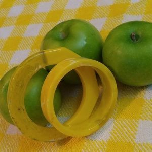 Chunky yellow lucite bangle set of 2